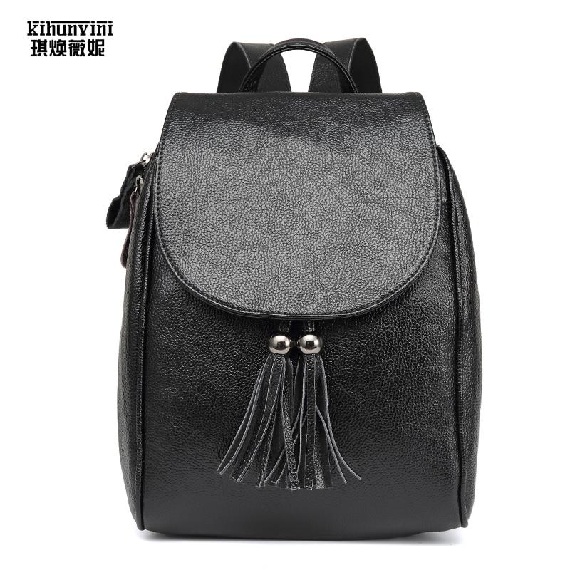 Leather Backpack Female Pack Cow Leather Tassel Backpacks Hot Ladies Back Pack Schoolbag ...