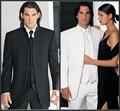 Нестандартная конструкция размер и цвет ни одна кнопка жених смокинги жениха мандарин воротник мужчины свадебные костюмы ( куртка + брюки + галстук + жилет )