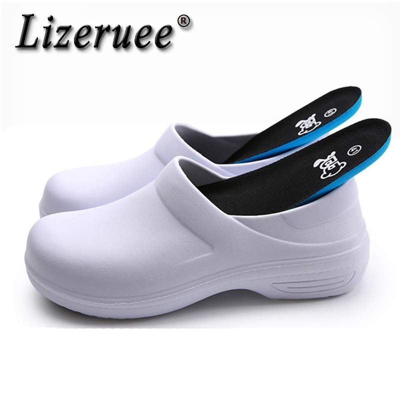 Lizeruee New Men's Chef Kitchen Working Slippers Garden Shoes Summer Breathable Mules Clogs Men Anti Slip Unisex Shoes Sandals