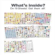 19 pieces lot Sheets Stickers Cute Lovely Smile Face For Notebook Message Twitter Vinyl Funny Creative