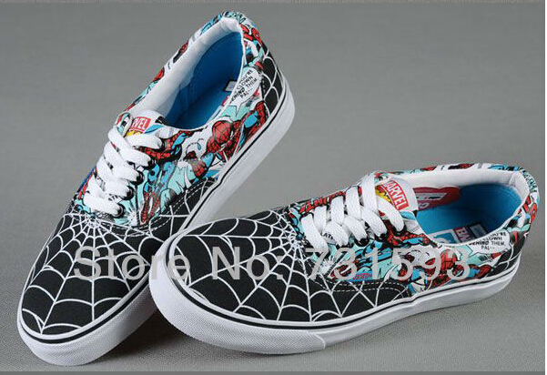 1c4032f218f Free Shipping Authentic Designer fashion shoes casual canvas Marvel  Collection Spiderman Iron Man  Era Black Red Blue