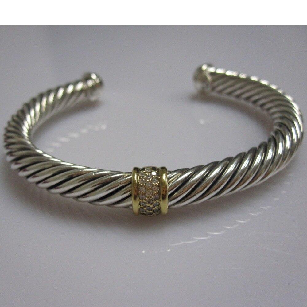 Bijoux en argent Sterling 7mm pavé de diamants Bracelet de câble Bracelet fin de mode femmes Bracelet cadeaux de saint valentin - 2
