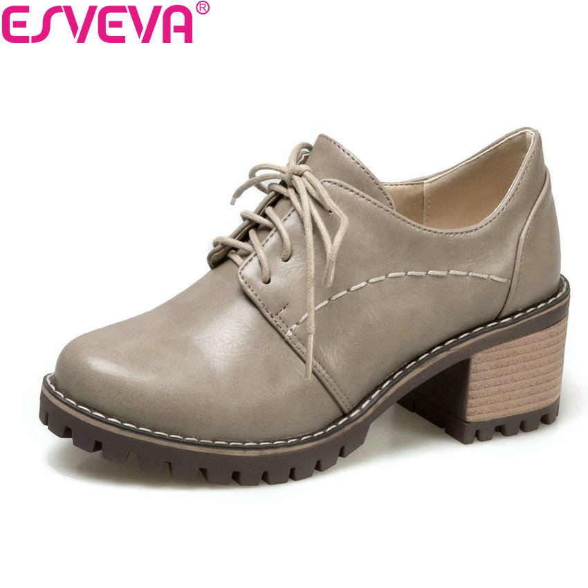 ESVEVA 2018 Soft PU Women Pumps Spring Autumn Casual Shoes Women Square High Heel Round Toe Lace Up Pumps Brown Gray Size 34-40  big size eur 34 50 thick heels round toe single shoes spring autumn high heel women shoes fashion pumps lace up low shoes ox119