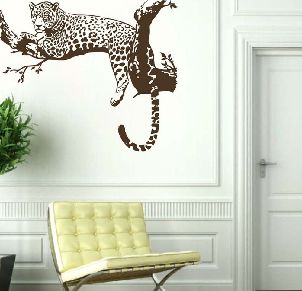 awoo large leopard tiger tree vinilo removible etiqueta de la pared decoracin etiqueta engomada casera decaration