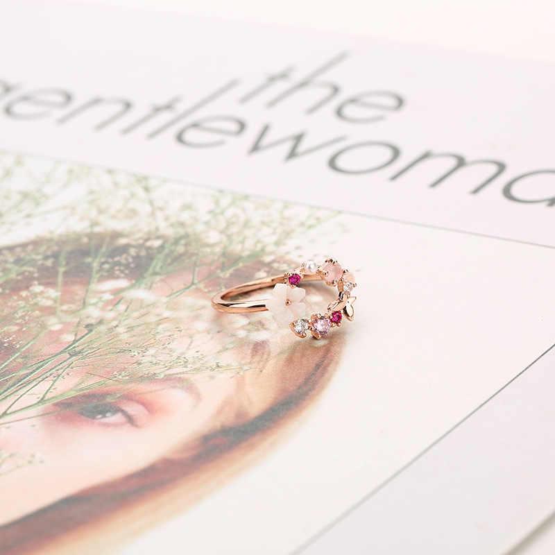 Mode créatif papillon fleurs cristal doigt anneaux de mariage pour les femmes or Rose Zircon Glamour anneau Bijoux fille cadeau Bijoux