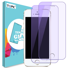 [2 PC]TOPK Screen Protector For iPhone 5 5s SE Anti Blue Light 9h Hardness HD Clear Automatic Adsorption Tempered Glass