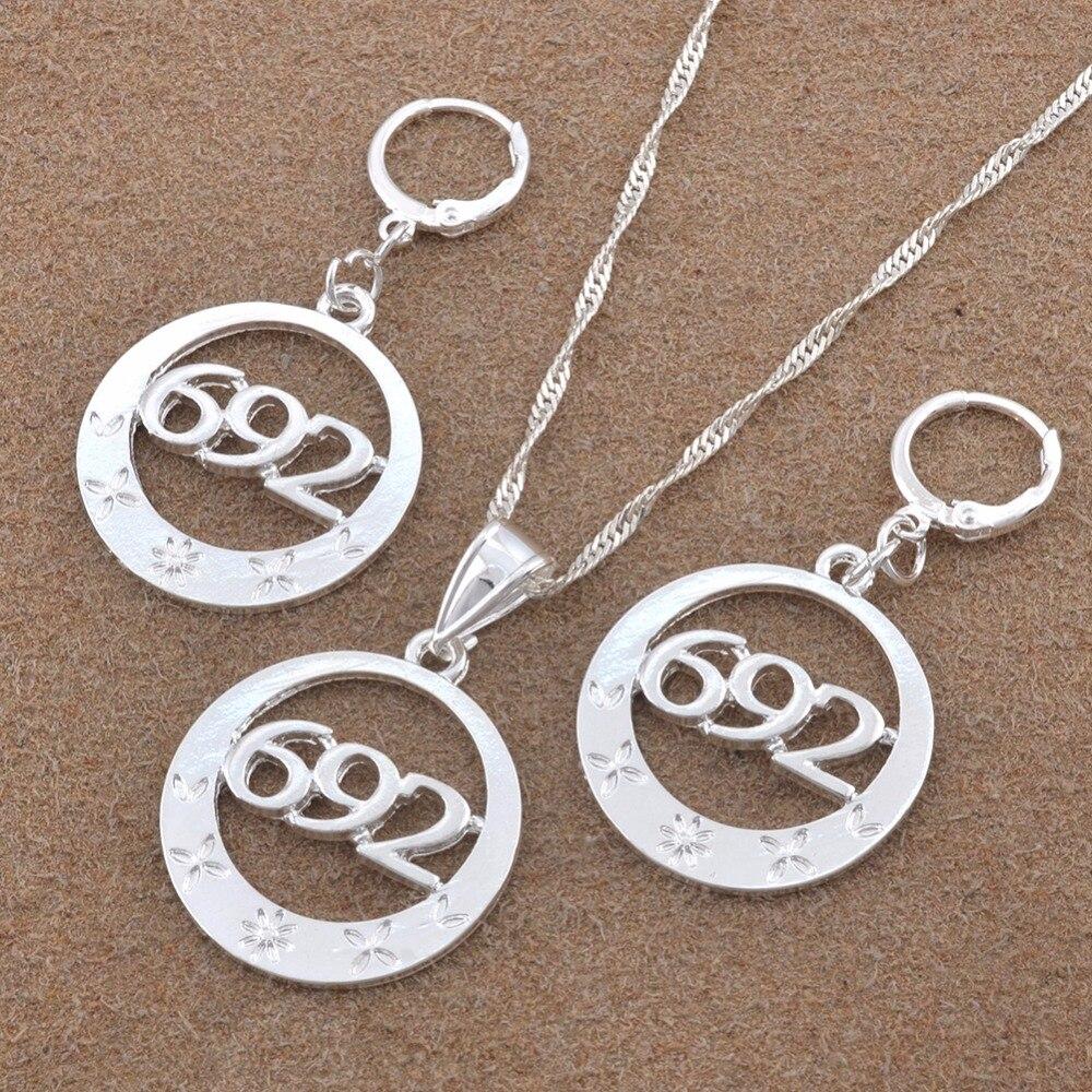Anniyo серебро Цвет 692 Ювелирные наборы кулон колье серьги для Для женщин (больше моделей пожалуйста, проверьте мой магазин) # 120306B