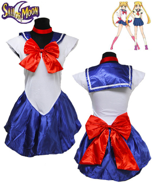 4e218c08940 US $16.62 42% OFF|New Ladies Sexy White Sailor Moon Costume Cartoon Movie  Cosplay Girl Mercury Moon Mars Dress for Halloween Costume red/blue/pink-in  ...