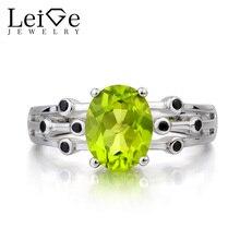 Leige Jewelry Natural Peridot Ring Wedding Ring August Birthstone Green Gemstone Oval Cut Gemstone 925 Sterling Silver Ring