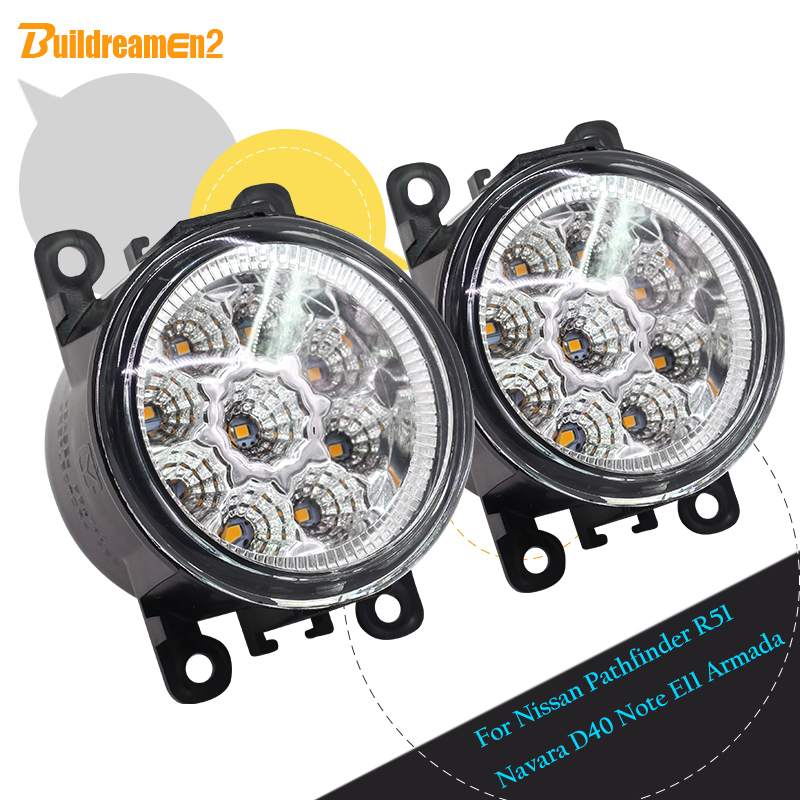 Buildreamen2 For Nissan Armada Pathfinder R51 Navara D40 Note E11 Car LED Light Lamp Fog Light DRL Daytime Running Light H8 H11 cawanerl 2 x car led fog light drl daytime running lamp accessories for nissan note e11 mpv 2006