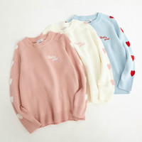 2018 Autumn and Winter New College Wind Love Embroidered Sweater Women Harajuku Cotton Loose Round Neck Long Sleeve Sweater