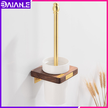Toilet Brush Holder Set with Ceramic Cup Wood Brass Wall Mounted Toilet Brush Holder Bathroom Clean Cleaning Brush Accessories