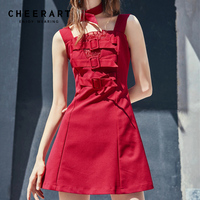 Cheerart Vintage Red Tank Bodycon Dress Women Summer Square Collar Mini Holiday Dress 2018 Clothes