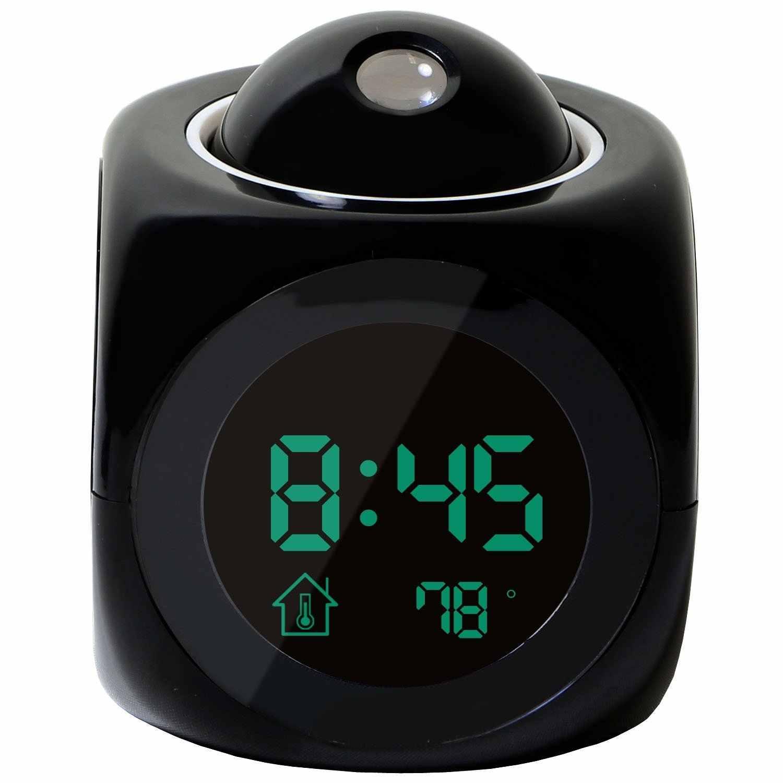 Новая мода внимание проекция цифровая погода ЖК Повтор Будильник-проектор цветной дисплей светодиодный подсветка звонок с таймером BTZ1