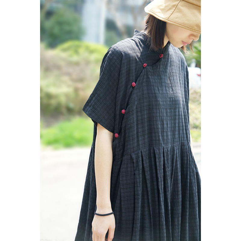 SCUWLINEN Chinese Style Vintage Plaid Plate Buttons Plus Size Loose Pleated Cotton Dress 2019 Summer Dress