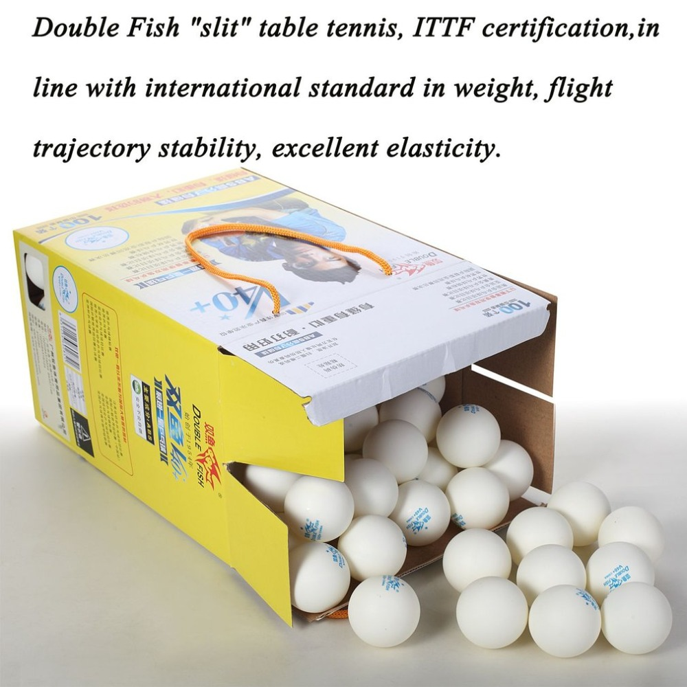 100pcs/set New Double Fish V40+ 1 Stars 40mm White Table Tennis Balls ABS Plastic Seamed Balls Training Ping Pong Balls