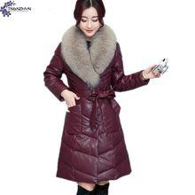 TNLNZHYN Зимняя Мода Новый Женская одежда Пальто хлопка большой размер меховой воротник Утолщение Теплый v-образным вырезом С Длинным Женская Верхняя Одежда TT111