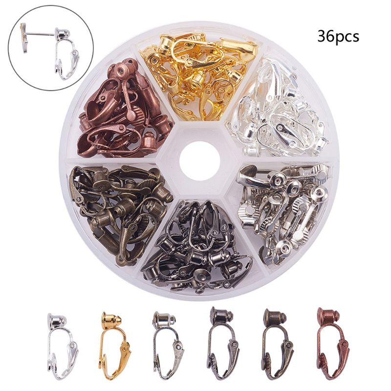 ANGELADY 36pcs/Box Brass Stud To Clip On Earring Converters For Non-Pierced Ears Women Jewelry Tools 6 Colors