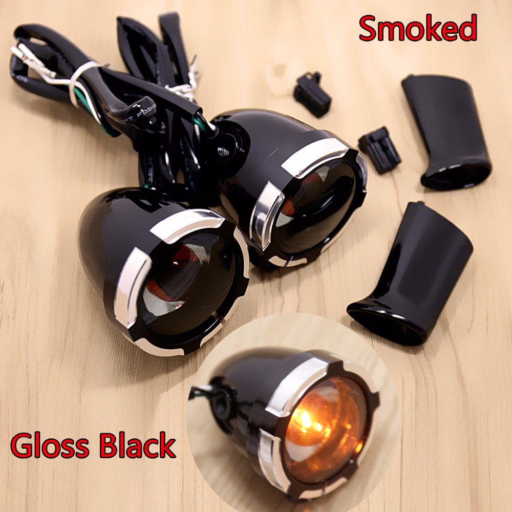 Gloss Black Deuce/Bullet Rear Smoked Turn Signals&Trims For Harley Dyna Sportster 883 Models