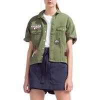 Estate Donne Giacca 2016 Manica Corta Verde Dell'esercito di Cotone Vestito Femminile Giacca Bomber Ragazze Casual Jaqueta Feminina Donne Cappotto