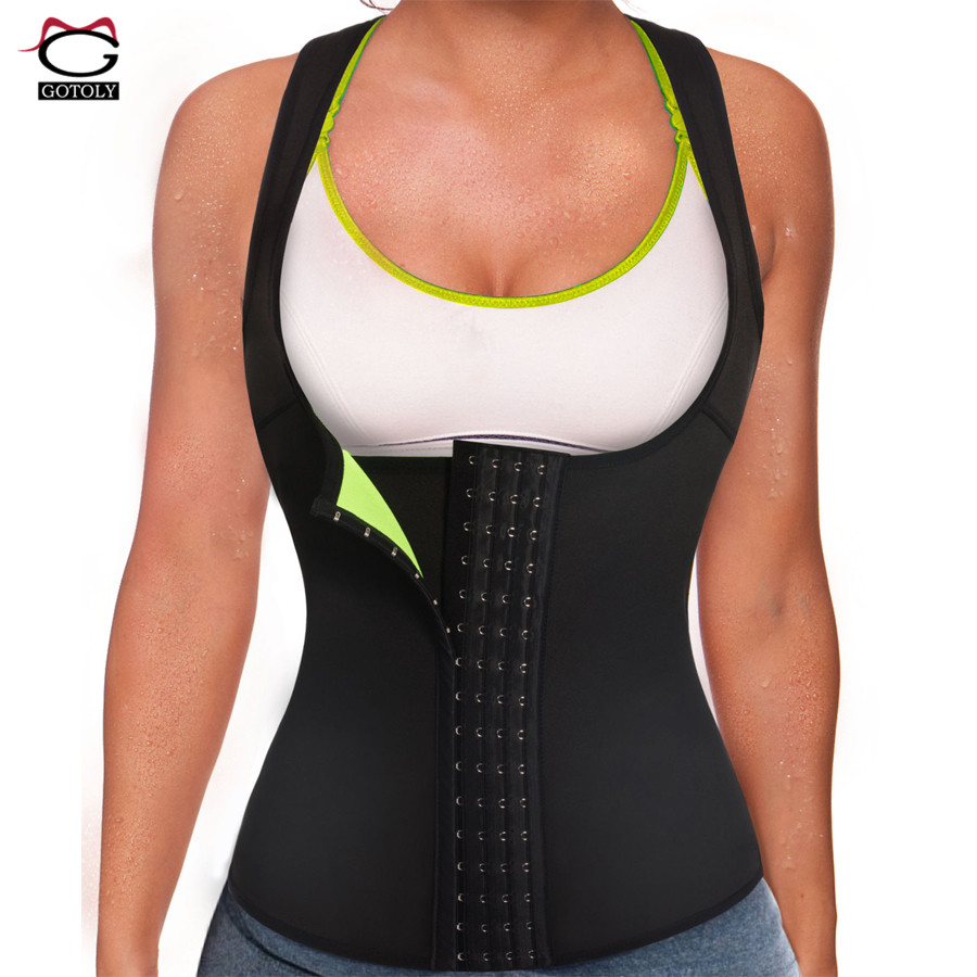 Gotoly Sauna Waist Trainer Hooks And Zipper Neoprene Sweat Vest for Weight Loss Fat Burning Body Shaper for Women Workout image