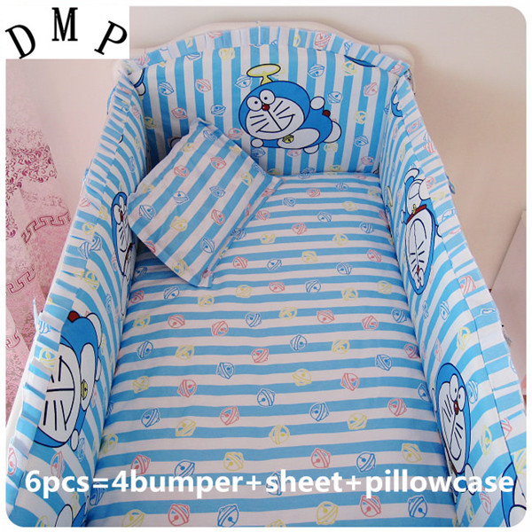 Promotion! 6PCS Doraemon Baby bedding sets crib set 100% cotton (bumpers+sheet+pillow cover)