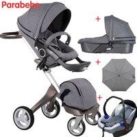 Luxury Baby Stroller 3 In 1 V4 European Top Brand Baby Pram 3 In 1 Pushchair Bassinet Infant Car Seat Carrycot Newborns Kids