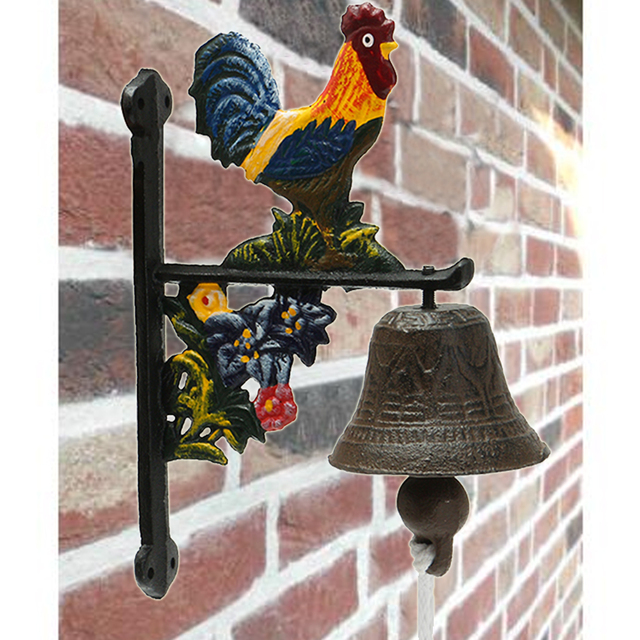 New Vintage Style Metal Cast Iron Rooster Door Bell Wall Mounted
