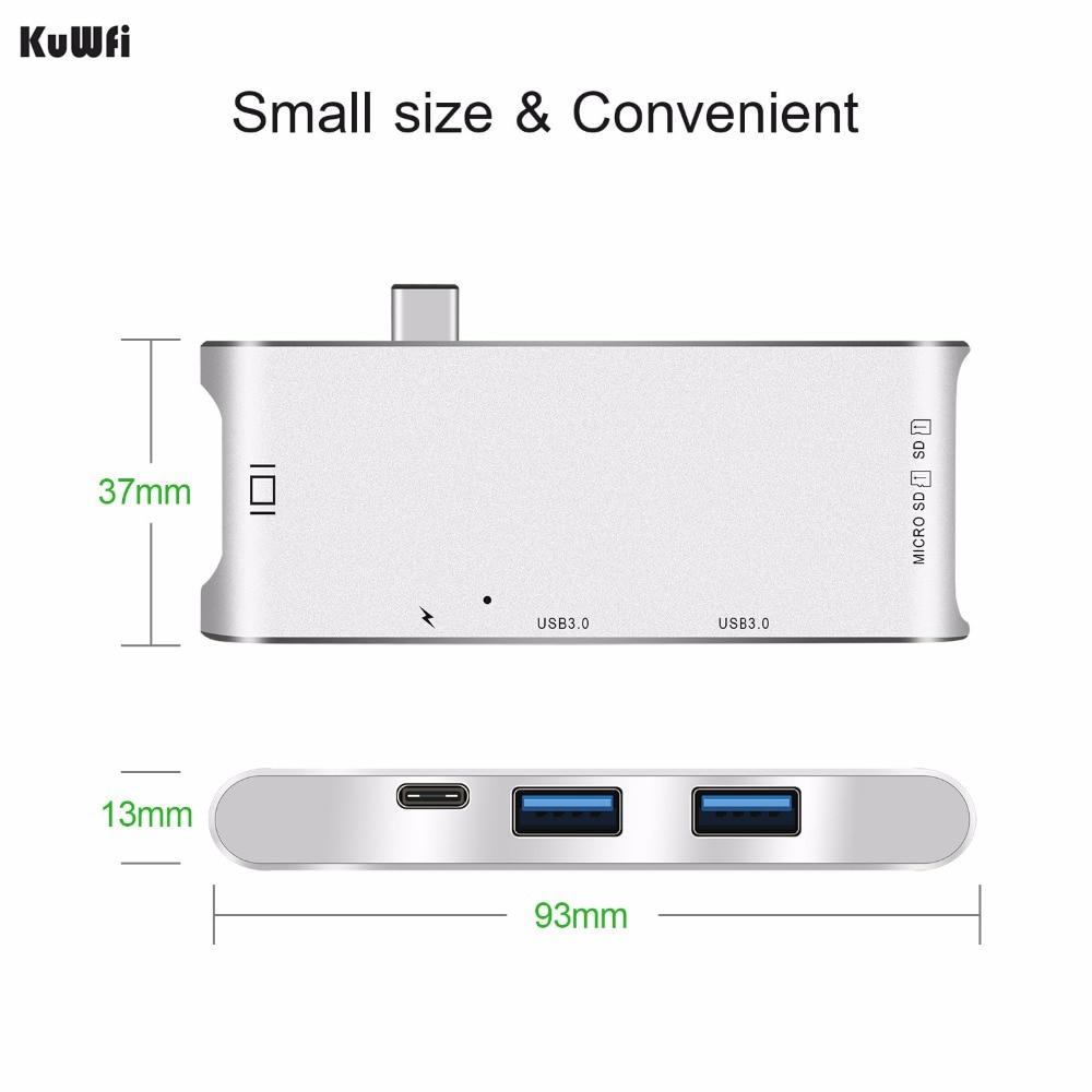 Image 3 - 6 дюймов 1 USB C концентратор адаптер 4K дисплей USB 3,0 с тип c доставка питания SD/TF кардридер для MacBook Pro type C концентратор Hdmi