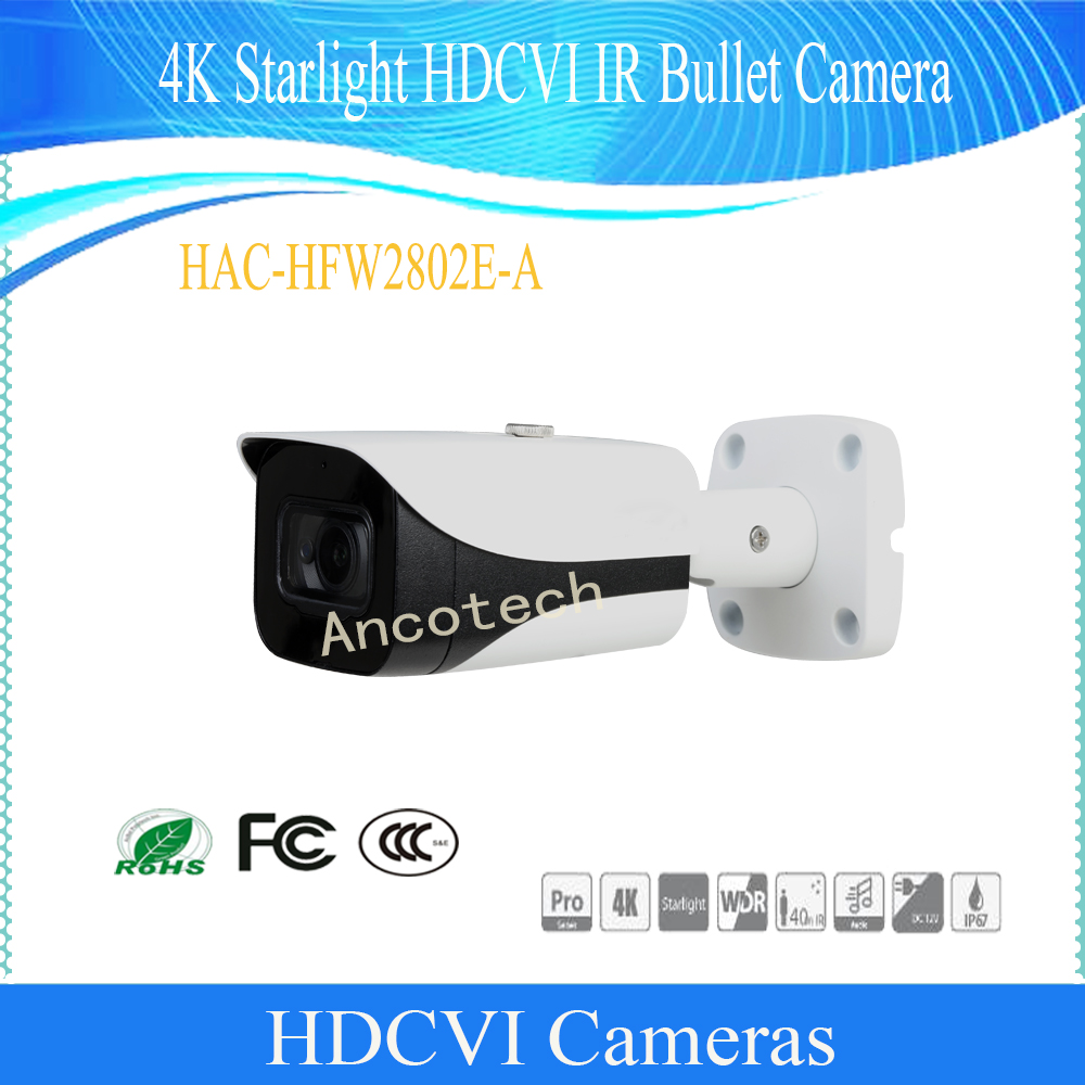 Free Shipping Original DAHUA Security Camera CCTV 4K Starlight HDCVI IR Bullet Camera IP67 IK10 Without Logo HAC-HFW2802E-A free shipping dahua cctv camera 4k 8mp wdr ir mini bullet network camera ip67 with poe without logo ipc hfw4831e se