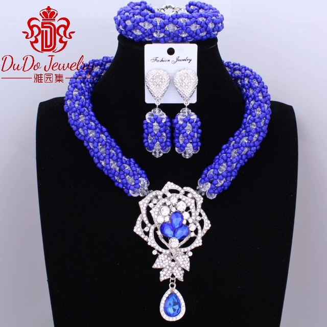2017 Newest Christmas Jewelry Set Dubai Royal Blue And White Necklace Set of Jewelry Nigerian Wedding African Beads Jewelry Sets