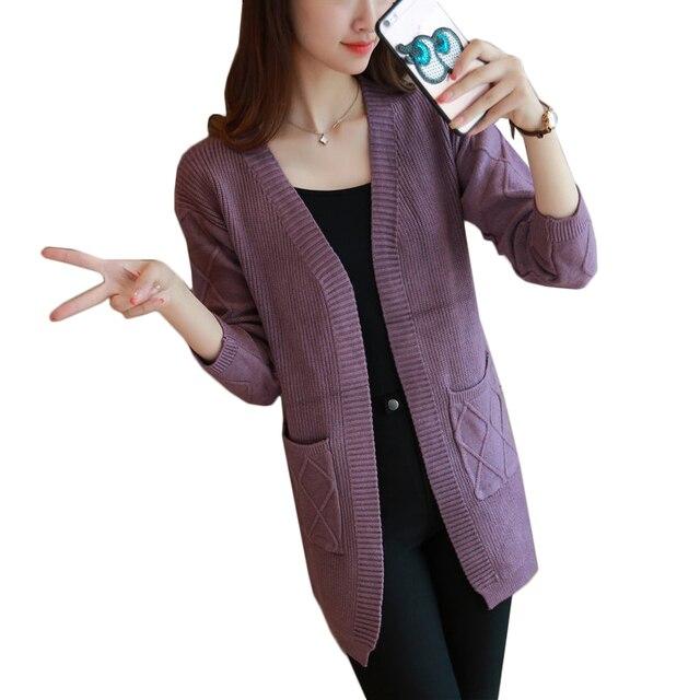 Осень 2016 Девушки Случайные Длинный Вязаный Кардиган Корейских Женщин Карманный Дизайн Свободные Свитера Куртки Розовый Белый серый V шеи пальто
