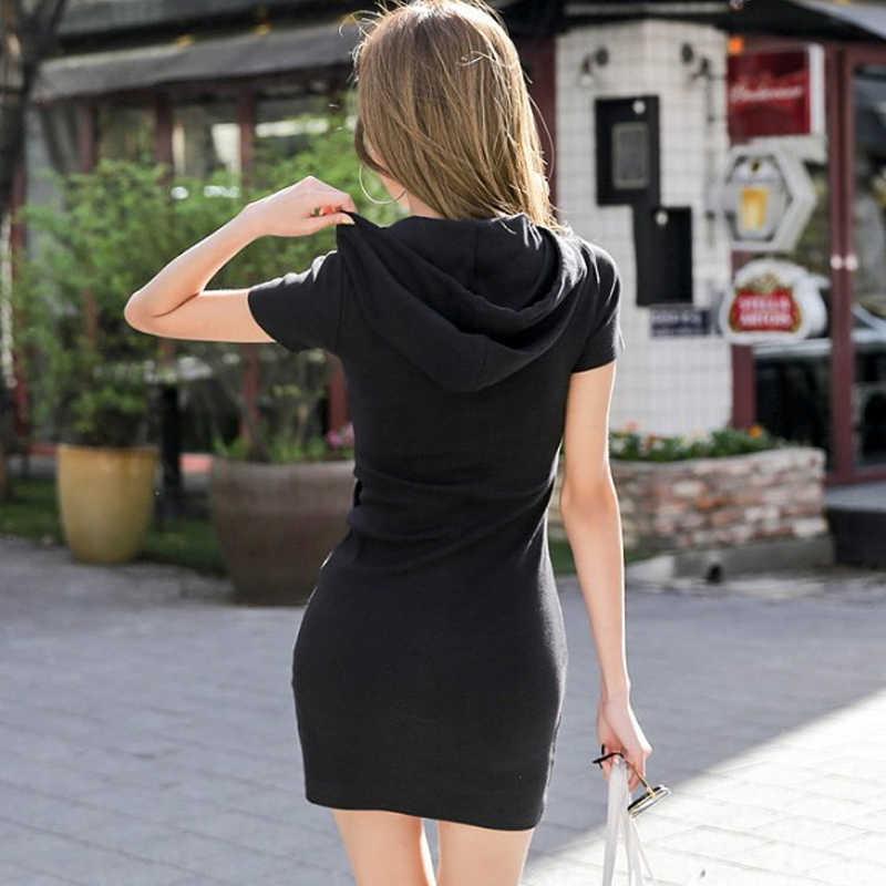 Спортивные женские платья с капюшоном цифровые летние с коротким рукавом выше колена тонкие высокие уличные девушки напечатаны 2019 Новый Стиль Повседневный