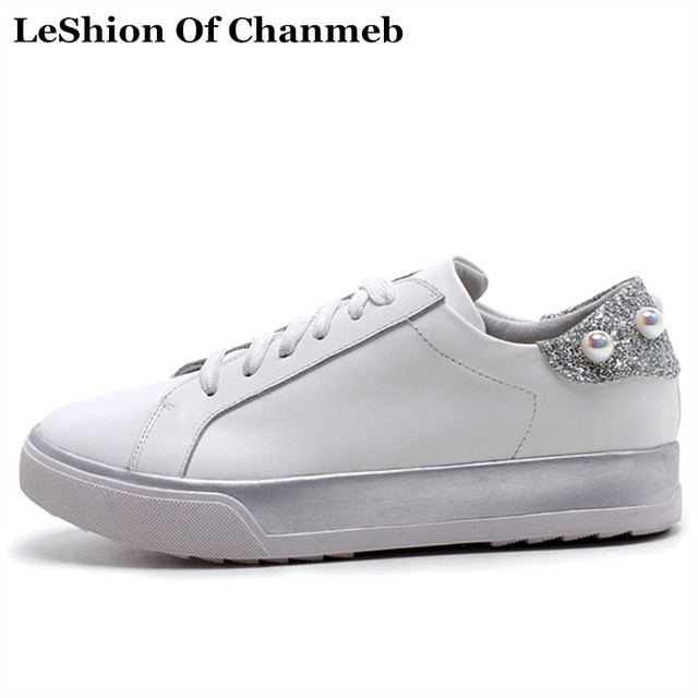 bling bling flats genuine cow leather women  39 s sneakers lace up leisure  shoes pearls white sneakers female casual creepers d7fefc6a3