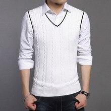 Высокого качества осень вязаный хлопковый свитер Для мужчин теплая Рождество свитер повседневные с v-образным вырезом без рукавов свитер рубашка слим Для мужчин
