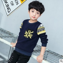 Children's Hoody Boys T-shirt 2017 New Autumn Children's Long Sleeve Printed Fashion Leisure Hoodies 2 Colors Size4-14 ly411
