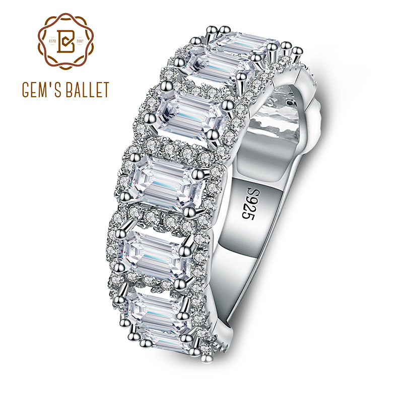 Gem's Ballet Wedding Cubic Zirconia Channel Set Ring 925 Sterling Silver Engagement Promise Rings For Women Fine Jewelry