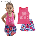 2017 Summer Girls Clothes Sets Casual Striped Floral Print Baby Girl Clothing Suits Kids Child Sleeveless Vest +Skirt Set CF513