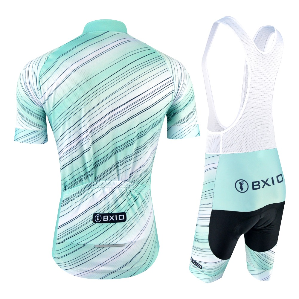BXIO Men Cycling Clothing Summer Pro Team Bike Jerseys Short Sleeve Sportswear With Bib Shorts Blue Cycling Jersey Sets 175 in Cycling Sets from Sports Entertainment