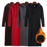 New Autumn Winter Fashion Long Hoodies Women Sweatshirt Dress Casual All Match Pullovers Coats Slim Mid Calf Hooded Coat Mw119