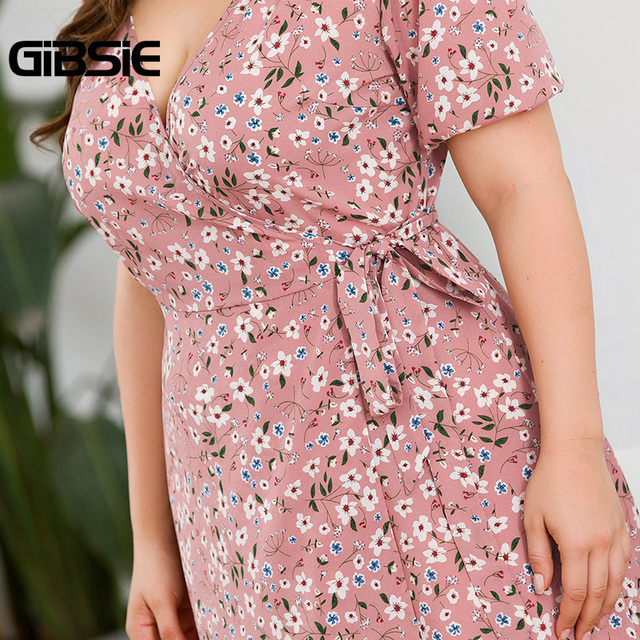 GIBSIE Plus Size Casual Floral Print Knee Length Wrap Dress Women Summer Fashion V-Neck Short Sleeve High Waist A-Line Dress 5