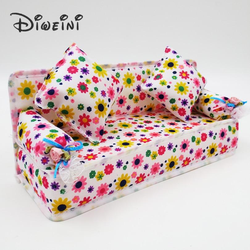 Mini Dollhouse mobilier pânză de flori canapea păpuși accesorii - Păpuși și jucării umplute