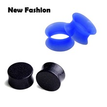 Ear Guages 00g plugs Ear Expander Piercing body 6-16mm Sandstone+Blue Silicone Flesh Tunnel Earrings Ear Plugs Stretcher(China)