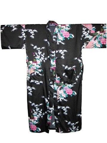 Черный сексуальный цветок юката кимоно ванна платье женщины шелкового мягкая белье v-образным вырезом халаты пижамы сауна костюм Большой размер S-XXXL WR045