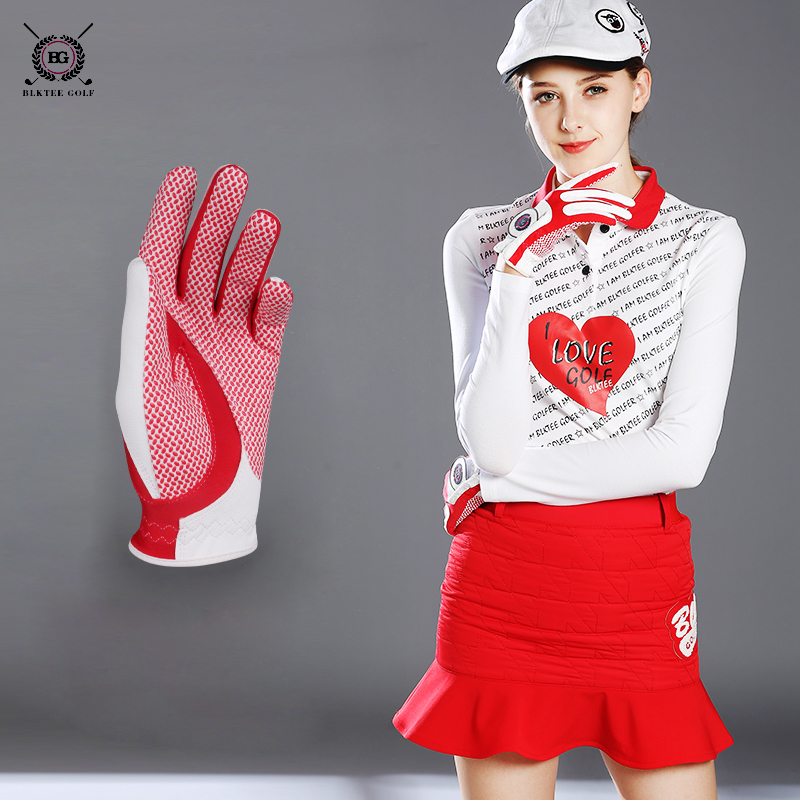 Bg women leather golf gloves ladies left and right hands gloves sports one pair of gloves breathable anti-slip red white yellow