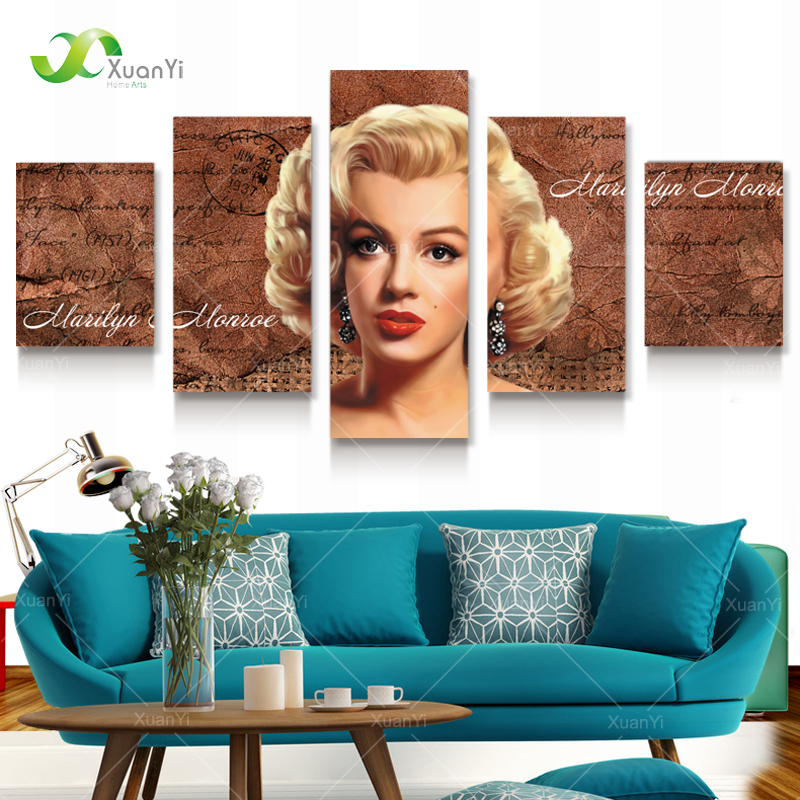Aliexpress Com 5 Panel Modern Canvas Prints Marilyn Monroe Marilyn Monroe Living Room Decor