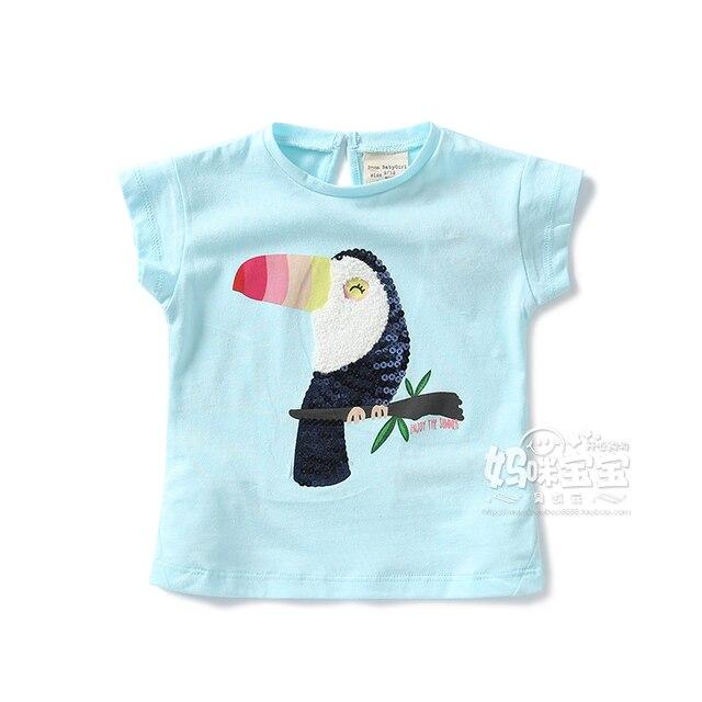Новые 2016 летние девушки одежду футболки для девочек с короткими рукавами майка детская милый мультфильм птица детям-образных пуловер топы