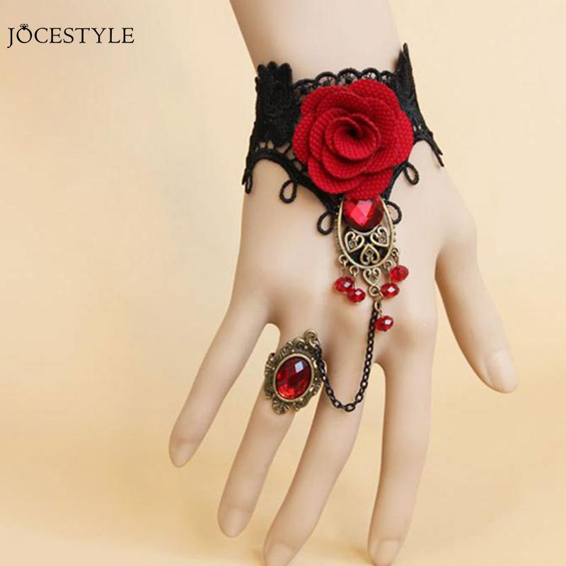 Elegant Gothic Style Lace Red Rose Bracelet Jewellery with Adjustable Finger Ring Bride Weeding Alloy Costume Beads Jewelry Sets