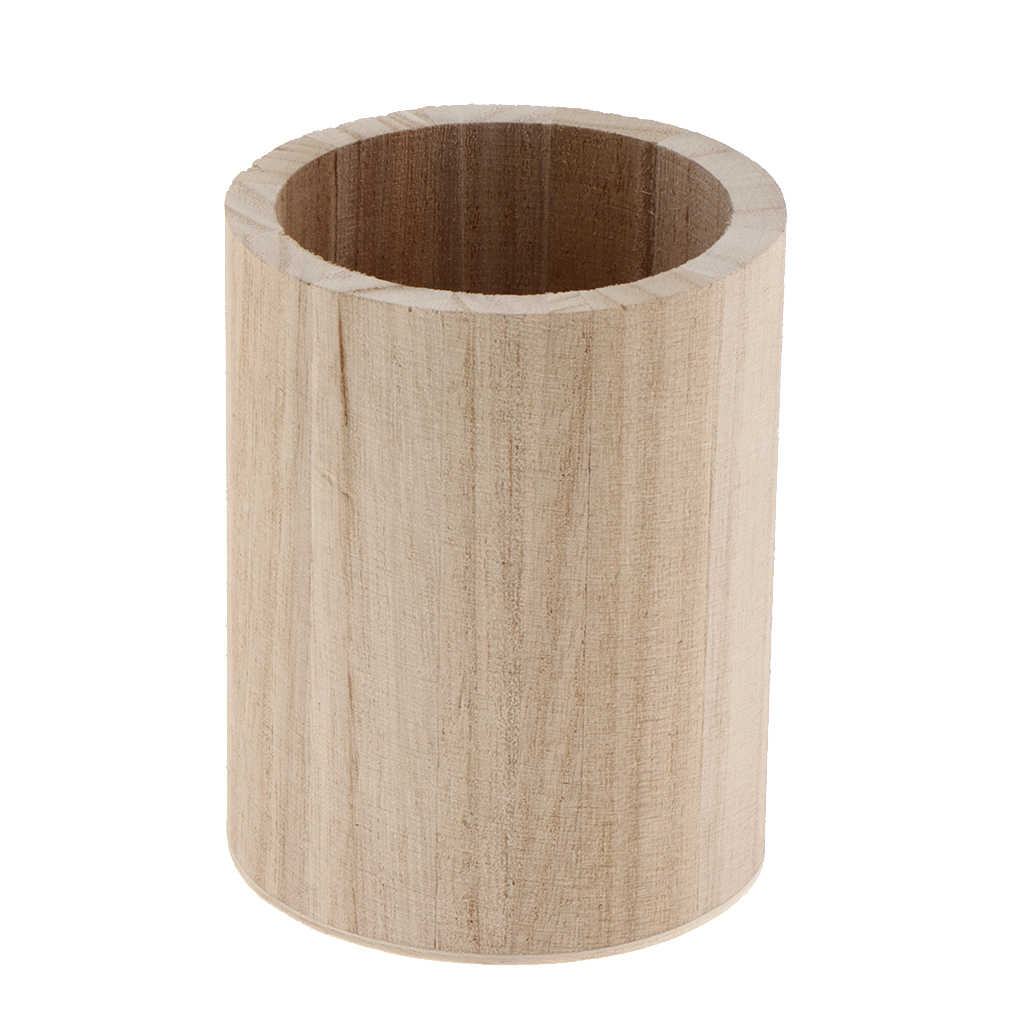 Unfinished Wooden Pen and Pencil Holder Container for Kids Painting DIY Crafts