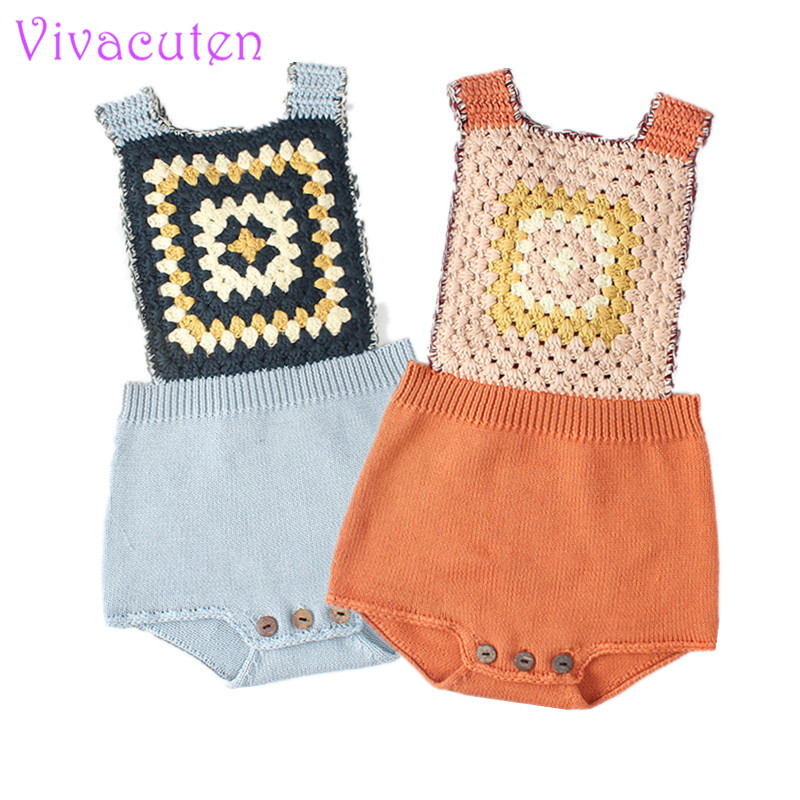 Ins Newborn Baby Boys Girls Knitted Romper Sling Overall Vintage Style Cotton Baby Outfits Jumpsuit 0-4 Years Online Shop Rompers